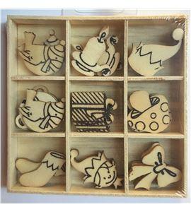 Set de mini siluetas de madera - duendes navidad - 14001972