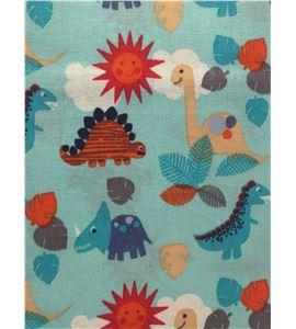 Tela de algodón - dinosaurios turquesa - 13062010