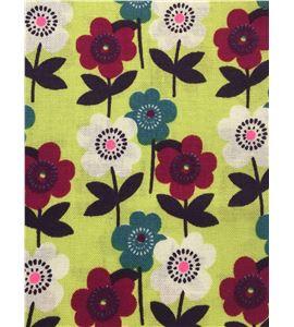 Tela de algodón - flores verde - 13062018