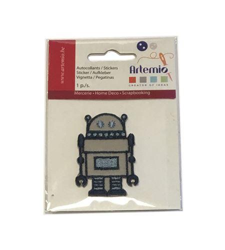 Parche adhesivo bordado - robot gris - 13063048