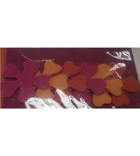 Fieltro 6 flores rosa / amarillo / naranja - FE20A02