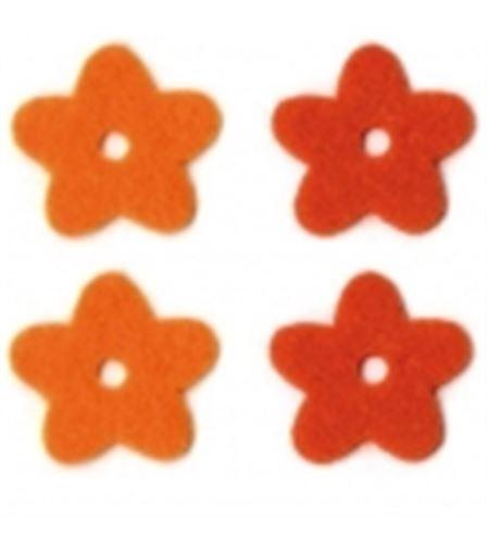 Fieltro 14 flores naranja / rojo - FE17A01