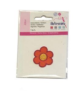 Parche adhesivo bordado - flor pequeña naranja - 13063018