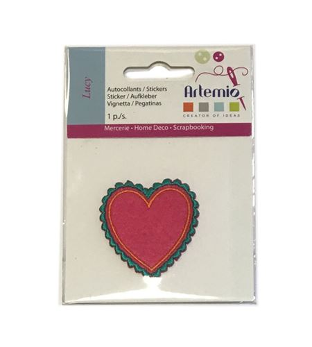 Parche bordado termoadhesivo - corazón lucy - 13063026