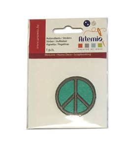 Parche adhesivo bordado - símbolo de la paz verde - 13063035
