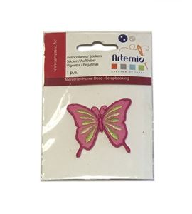 Parche adhesivo bordado - mariposa rosa - 13063037