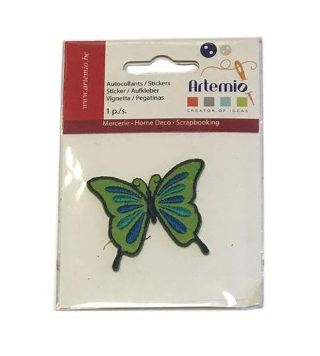 Parche adhesivo bordado - mariposa verde - 13063039