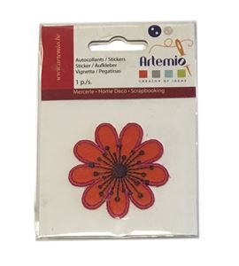 Parche adhesivo bordado - flor naranja - 13063041