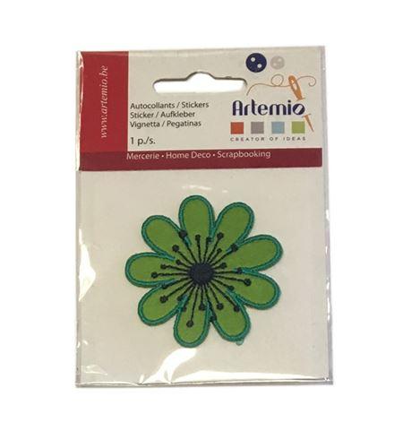 Parche adhesivo bordado - flor verde - 13063042