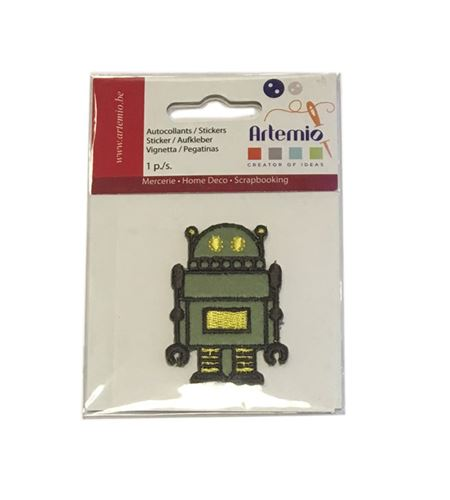 Parche adhesivo bordado - robot verde - 13063047