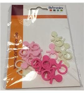 Chupetes de fieltro - rosa y blanco - FE112A01
