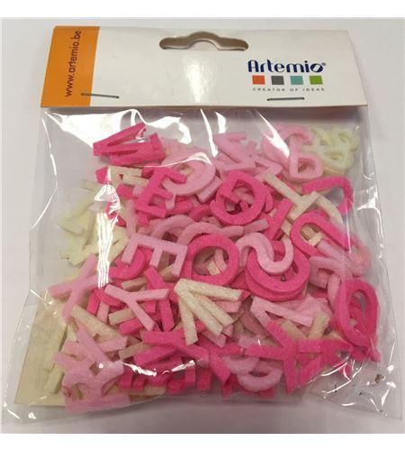 Abecedario de fieltro - rosa y blanco - FE117A01