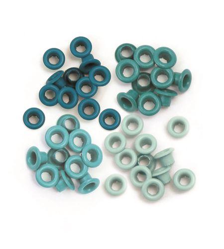 Set de eyelets - 4 tonos turquesa 60pc. - 415770