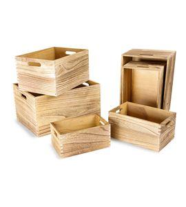 Cajas de madera natural - 10048