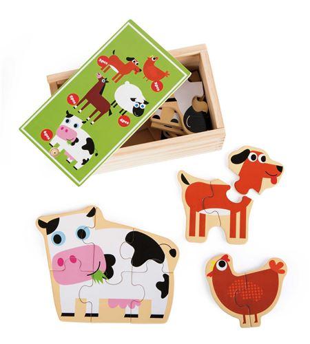 Caja de puzles animales de la granja - 10547
