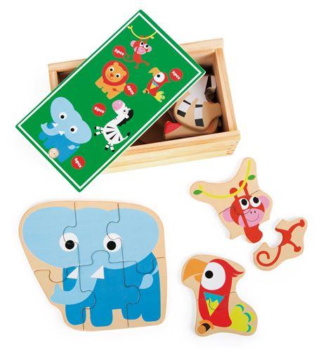 Caja de puzles animales salvajes del zoo - 10551