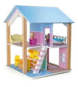 Casa de muñecas tejado azul en 2 pisos, giratoria - 3110
