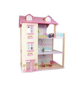 Casa de muñecas ´tejado rosa´ 3 pisos, girable - 3126