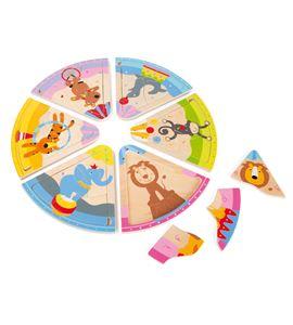 Puzle de madera, animales del circo - 4343