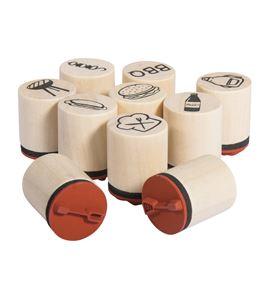 Set de mini sellos de madera/caucho - bbq - 68097000