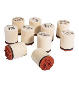 Set de mini sellos de madera/caucho - daily planner - 68099000_2