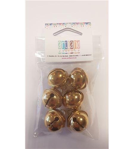 Set de 6 cascabeles dorados - 24mm. - RA-2504206