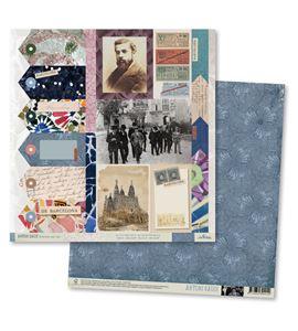 Papel de scrapbook - gaudí azul - TT001 AG14