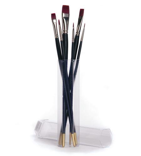 6 pinceles pelo sintético óleo/acrílico con porta pinceles regalo - AM-574800