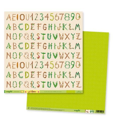 Papel de scrapbook - ecopals letras - ECOT003