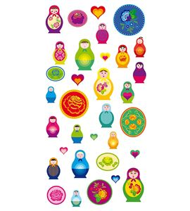 Autoadhesivos 3d matrioshka multicolor - 11004139