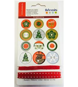 Kit de botones y cintas - navidad rojo - 11004106