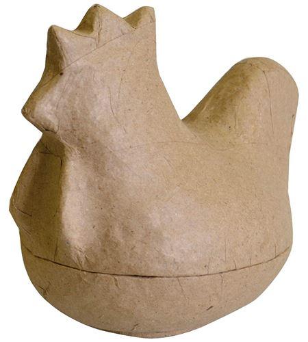Caja de papel maché para decorar - gallina - 14030049