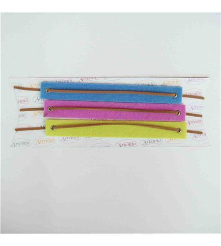 Fieltro set 3 pulseras azul / rosa / amarillo - FE55A1