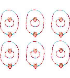 Set de repuesto joyería con lechucitas, rosa - 10244