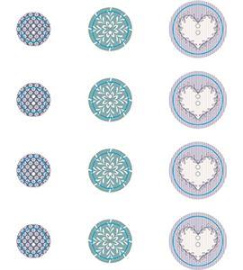 Set de botones de madera - azul - 14002203