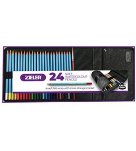 24 water colour pencils with pencil wrap - 09290047