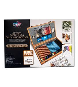 Caja madera lápices dibujo 36 piezas - 09299283