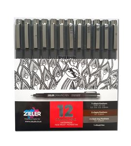Drawing pens – set of 12 - 09299288