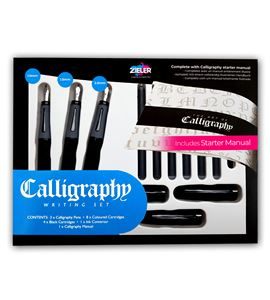Estuche completo con 3 plumas recargables para caligrafía. - 07290013