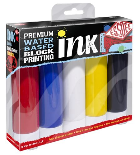 Conjunto de tinta para lino grabado prémium 5 colores primarios - LPI-A5R PNG