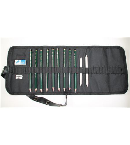 Estuche enrollable 9 lápices grafito bocetos 6b-2h - AM-348001