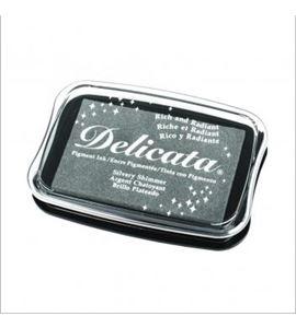 Tampón de tinta delicata metalizada color plata - 29187606