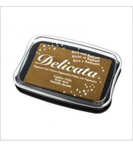 Tampón de tinta delicata metalizada color dorado - 29187616