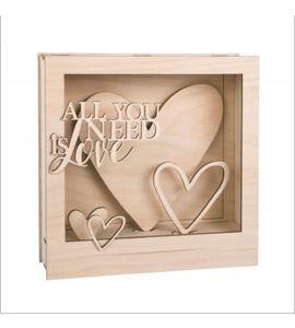 Marco madera corazón 3d - 62887505
