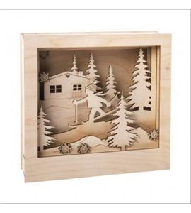 Marco decorativo 3d madera 24x24x6,3cm esquiador - 62888505