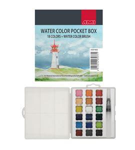 Caja de acuarela de bolsillo 18 colores + 1 pincel depósito - 507465