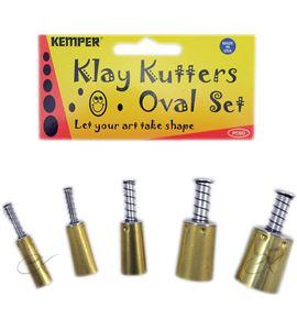Set de 5 cortadores para arcilla con expulsor ovalados - PCSO