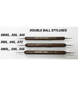 Buril doble bola 1 mm. y 1,8 mm. mango madera natural - DBS-X