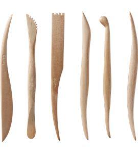 Juego de 6 palillos de madera para modelar doble punta - AM-570240