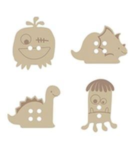 Botones de madera - dinos & monstruos - 14001702
